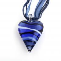 Lampwork Halskette, mit Stoff & Nylonschnur & Messing, Herz, Platinfarbe platiniert, für Frau, 30x47x14mm, verkauft per ca. 16.5 ZollInch Strang