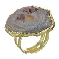 Messing Fingerring, mit Eisquarz Achat, vergoldet, druzy Stil & unisex, 30mm, Größe:7, verkauft von PC