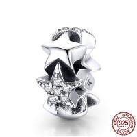 Thailand European Perlen, Stern, Micro pave Zirkonia & ohne troll, 5x11mm, Bohrung:ca. 4.5-5mm, verkauft von PC