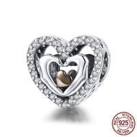 Thailand European Perlen, Herz, plattiert, Micro pave Zirkonia & ohne troll & hohl, 12x12mm, Bohrung:ca. 4.5-5mm, verkauft von PC