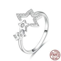 Zirkonia Micro Pave Sterling Silber Ringe, 925 Sterling Silber, Stern, platiniert, einstellbar & Micro pave Zirkonia & für Frau, 2mm, 13mm, Größe:8, verkauft von PC