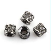 Zink Legierung Europa Perlen, Zinklegierung, Trommel, metallschwarz plattiert, ohne troll & mit Strass, frei von Blei & Kadmium, 10x9mm, Bohrung:ca. 5mm, 4PCs/Tasche, verkauft von Tasche
