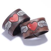 Kuhhaut Armband, mit Zinklegierung, plattiert, Einbrenn-Lack & unisex & mit einem Muster von Herzen, keine, 40mm, verkauft per ca. 9.4 ZollInch Strang