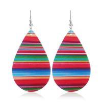 Holz Ohrring, mit Zinklegierung, Tropfen, Platinfarbe platiniert, für Frau, farbenfroh, 45x70mm, verkauft von Paar