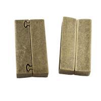 Zinklegierung Magnetverschluss, Rechteck, antike Bronzefarbe plattiert, frei von Blei & Kadmium, 19x38x7mm, 10PCs/Tasche, verkauft von Tasche