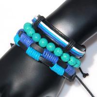 Kunstleder Armband, mit Achat, mit Verlängerungskettchen von 2lnch, handgemacht, für Frau, frei von Nickel, Blei & Kadmium, Länge:ca. 7 ZollInch, 3SträngeStrang/setzen, verkauft von setzen