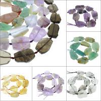 Mischedelstein Perlen, Edelstein, Klumpen, verschiedenen Materialien für die Wahl, 33x15x7mm-41x28x5mm, Bohrung:ca. 1mm, verkauft per ca. 16.5 ZollInch Strang