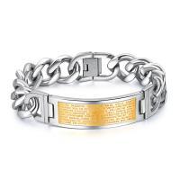 Titanstahl Armband, plattiert, Kandare Kette & für den Menschen, keine, 16x48mm, verkauft per ca. 8 ZollInch Strang