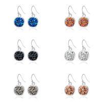 Zinklegierung Tropfen Ohrring, mit Kunststoff, silberfarben plattiert, für Frau, keine, 14x25mm, verkauft von Paar
