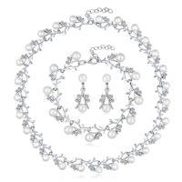 Zinklegierung Hochezeit Set, Armband & Ohrring & Halskette, mit Kunststoff Perlen, mit Verlängerungskettchen von 2inch, plattiert, für Braut & einstellbar & mit Strass, keine, frei von Nickel, Blei & Kadmium, 12x31mm, Länge:ca. 7 ZollInch, ca. 15.5 ZollInch, 3SetsSatz/Menge, verkauft von Menge