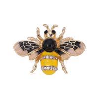 Zinklegierung Broschen, Biene, goldfarben plattiert, für Frau & Emaille & mit Strass, frei von Blei & Kadmium, 26x35mm, verkauft von PC