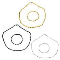 Edelstahl Schmucksets, Armband & Halskette, plattiert, Kastenkette & für Frau, keine, 8x4.5mm, 8x4.5mm, Länge:ca. 20 ZollInch, ca. 8 ZollInch, verkauft von setzen