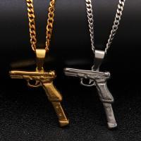 Edelstahl-Strickjacke-Kettenhalskette, Edelstahl, Pistole, plattiert, unisex & Kandare Kette, keine, 22x41mm, verkauft per ca. 24 ZollInch Strang