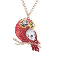 Zinklegierung Pullover Halskette, mit Glas, mit Verlängerungskettchen von 5cm, Papagei, plattiert, Koreanischen Stil & Twist oval & für Frau & Emaille, keine, frei von Blei & Kadmium, 50x47mm, verkauft per ca. 23.63 ZollInch Strang