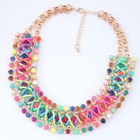 Legierung Halskette, mit Harz, goldfarben plattiert, für Frau, 180x35mm, verkauft per ca. 15.7 ZollInch Strang
