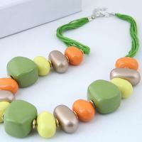 Zinklegierung Halskette, mit Nylonschnur & Harz, Rósegold-Farbe plattiert, für Frau, keine, frei von Blei & Kadmium, verkauft per ca. 17.7 ZollInch Strang