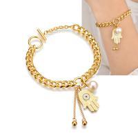Edelstahl Armband, mit Kunststoff Perlen, Hamsa, goldfarben plattiert, Twist oval & für Frau, 24mm, verkauft per ca. 8 ZollInch Strang