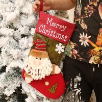 Weihnachtsgeschenkbeutel, Stoff, Weihnachtssocke, Weihnachtsschmuck & verschiedene Stile für Wahl, 290x450mm, 10PCs/Menge, verkauft von Menge