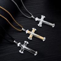 Titanstahl Halskette, Kreuz, plattiert, Kastenkette & für den Menschen, keine, 53mm, verkauft per ca. 21.5 ZollInch Strang