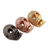 Strass Messing Perlen, Schädel, plattiert, mit Strass, keine, frei von Nickel, Blei & Kadmium, 12x16x12mm, Bohrung:ca. 1.5mm, verkauft von PC