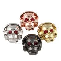 Strass Messing Perlen, Schädel, plattiert, mit Strass, keine, frei von Nickel, Blei & Kadmium, 12x12x9mm, Bohrung:ca. 2mm, verkauft von PC