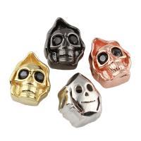 Messing Schmuckperlen, Schädel, plattiert, keine, frei von Nickel, Blei & Kadmium, 10x14x9mm, Bohrung:ca. 1.5mm, verkauft von PC