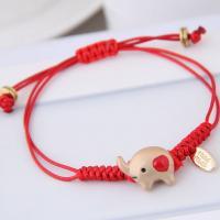 Zinklegierung Woven Ball Armband, mit Nylonschnur & Harz, Tier, einstellbar & verschiedene Stile für Wahl & für Frau, rot, frei von Blei & Kadmium, 170x12mm, verkauft per ca. 6.7 ZollInch Strang