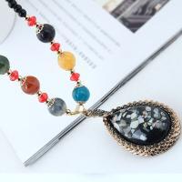 Zinklegierung Pullover Halskette, mit Edelstein & Harz, Rósegold-Farbe plattiert, für Frau, frei von Blei & Kadmium, 80x42mm, verkauft per ca. 27.5 ZollInch Strang