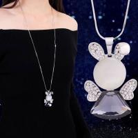 Zinklegierung Pullover Halskette, mit Kristall, Platinfarbe platiniert, Schlangekette & für Frau & mit Strass, frei von Blei & Kadmium, 47x33mm, verkauft per ca. 27.5 ZollInch Strang