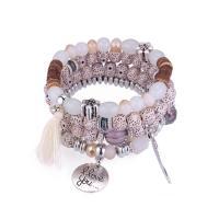 Edelstein Armbänder, mit Zinklegierung, antik silberfarben plattiert, für Frau, keine, Länge:ca. 7.5 ZollInch, verkauft von PC