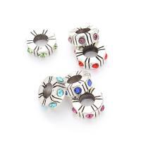 Zinklegierung Großes Loch Perlen, mit Strass & Schwärzen, frei von Blei & Kadmium, Bohrung:ca. 4mm, 10PCs/Tasche, verkauft von Tasche