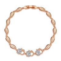Messing Armband, Blatt, für Frau & mit Strass & hohl, frei von Nickel, Blei & Kadmium, verkauft per ca. 7.5 ZollInch Strang