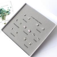 925er Sterling Silber Ohrstecker Set, versilbert, verschiedene Stile für Wahl & für Frau & mit Strass & gemischt, frei von Nickel, Blei & Kadmium, 9-20mm, 7PaarePärchen/setzen, verkauft von setzen