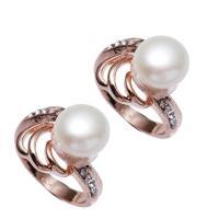 Messing Fingerring, mit Perlen, Rósegold-Farbe plattiert, für Frau & mit Strass, frei von Nickel, Blei & Kadmium, 9-10mm, 21x14x27mm, Größe:7, verkauft von PC