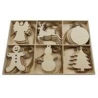 Holz Hängende Dekoration, Weihnachtsschmuck, originale Farbe, 295x20x195mm, 30PCs/setzen, verkauft von setzen
