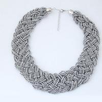 Zinklegierung Schmuck Halskette, mit Seedbead, Platinfarbe platiniert, für Frau, grau, frei von Blei & Kadmium, 36mm, verkauft per ca. 15.7 ZollInch Strang