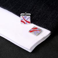 Messing Manschettenknöpfe, Platinfarbe platiniert, für den Menschen & Emaille, 20x15x20mm, verkauft von Paar