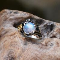Messing Fingerring, mit Opal, plattiert, verschiedene Größen vorhanden & für Frau, verkauft von PC