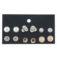 Zinklegierung Ohrstecker Set, mit Kunststoff Perlen, plattiert, hypoallergenic & für Frau & mit Strass, 8mm, 10mm, 6PaarePärchen/Menge, verkauft von Menge