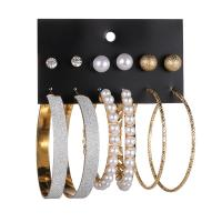 Eisen Ohrring-Set, mit Kunststoff Perlen, plattiert, für Frau & mit Strass & satiniert, keine, 6mm, 10mm, 58mm, 60mm, 6PaarePärchen/Menge, verkauft von Menge