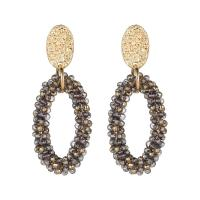 Zinklegierung Ohrringe, mit Glasperlen, goldfarben plattiert, für Frau, keine, frei von Nickel, Blei & Kadmium, 58mm, verkauft von Paar