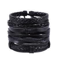 PU Leder Armband-Set, mit Hanfgarn, handgemacht, mehrschichtig & unisex & einstellbar, Länge:ca. 7 ZollInch, 4SträngeStrang/Menge, verkauft von Menge
