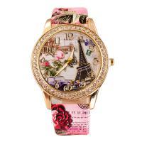 Damen Armbanduhr, PU Leder, mit Zinklegierung Zifferblatt & Glas, plattiert, für Frau & mit Strass, keine, frei von Nickel, Blei & Kadmium, 40mm, 20mm, Länge:ca. 9.5 ZollInch, verkauft von PC