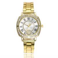 Damen Armbanduhr, Zinklegierung, mit Glas, plattiert, für Frau & mit Strass, keine, frei von Nickel, Blei & Kadmium, 35mm, 16mm, Länge:ca. 8.5 ZollInch, verkauft von PC