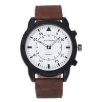 Herren Armbanduhr, PU Leder, mit Zinklegierung Zifferblatt & Glas & Edelstahl, plattiert, für den Menschen, keine, frei von Nickel, Blei & Kadmium, 46mm, 23mm, Länge:ca. 10.5 ZollInch, verkauft von PC