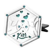 Edelstahl mit Kunststoff, Sechseck, Wort-Kuss, mit Strass & hohl, originale Farbe, 37x42mm, verkauft von PC