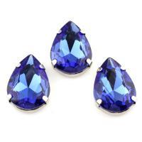 Zinklegierung Schmuck Cabochons, mit Kristall, Platinfarbe platiniert, blau, frei von Nickel, Blei & Kadmium, 8x25x8mm, verkauft von PC