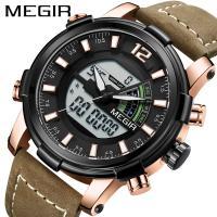 MEGIR® Herren Schmuckuhr, Zinklegierung, mit Leder & Glas, plattiert, für den Menschen, keine, 46.5mm, Länge:ca. 8.6 ZollInch, verkauft von PC