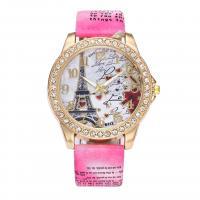 Damen Armbanduhr, PU Leder, mit Zinklegierung Zifferblatt & Glas, plattiert, Bohemian-Stil & für Frau & mit Strass, keine, frei von Nickel, Blei & Kadmium, 43mm, 20mm, Länge:ca. 10 ZollInch, verkauft von PC