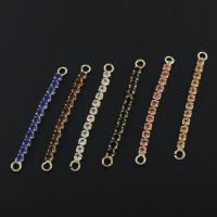 Messing Schmuck Verbinder, goldfarben plattiert, Micro pave Zirkonia & 1/1-Schleife, keine, frei von Nickel, Blei & Kadmium, 3x35x2mm, Bohrung:ca. 1.5mm, verkauft von PC